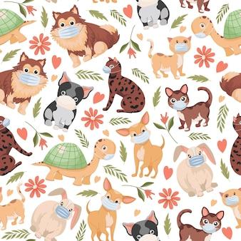 Huisdieren plat naadloos patroon geïsoleerd op wit