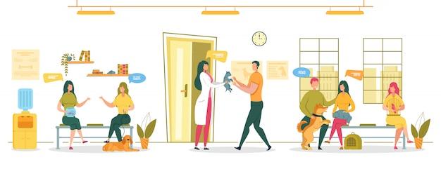 Huisdieren vaccinatie en dierenartsonderzoek.