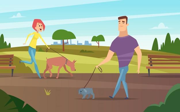 Huisdieren wandelen. dieren gelukkige eigenaren buiten in park hardlopen of fietsen met honden activiteit achtergrond