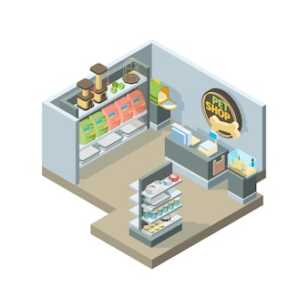 Huisdieren winkel interieur. isometrisch winkelhuis voor huisdieren dieren verschillende producten op winkelrekken vector gebouw. dierenwinkel en winkel voor huisdierenillustratie