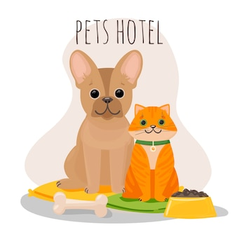 Huisdierenhotel, dierenkliniek in vlakke stijl. een kat en een hond op kussens naast een kom met geïsoleerde voedselillustratie