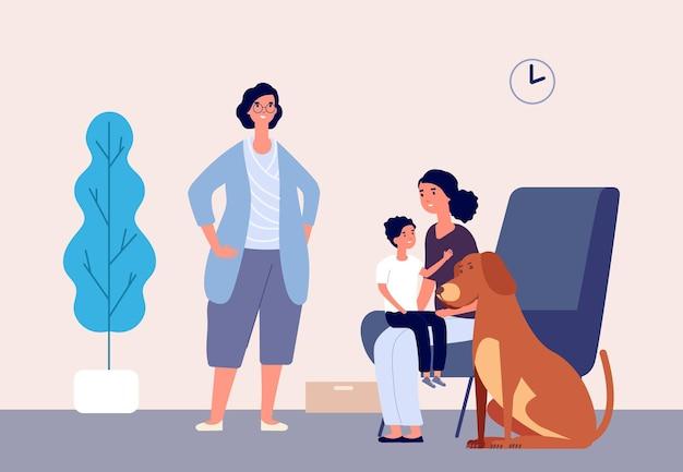 Huisdierentherapie. kind met moeder, hond en hondengeleider. huisdier hond en jongen in medische hulp therapie