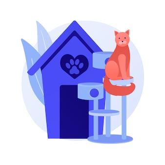 Huisdiervriendelijke omgeving. huisdieren, café voor kattenliefhebbers, locatie in het kattencentrum. huisdier poot silhouet op rood hart teken. dieren hotel symbool. vector geïsoleerde concept metafoor illustratie