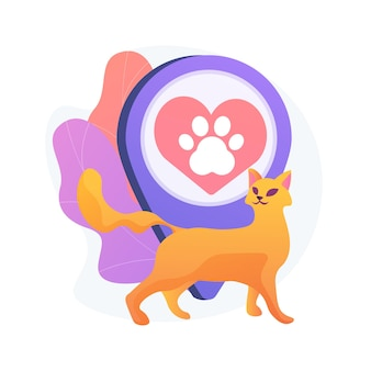 Huisdiervriendelijke omgeving. huisdieren, café voor kattenliefhebbers, locatie in het kattencentrum. huisdier poot silhouet op rood hart teken. dieren hotel symbool.