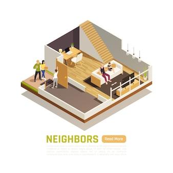 Huiseigenaren op twee niveaus vriendschappelijke relaties met buren die op bezoek zijn met een isometrische compositie van traktatie treat
