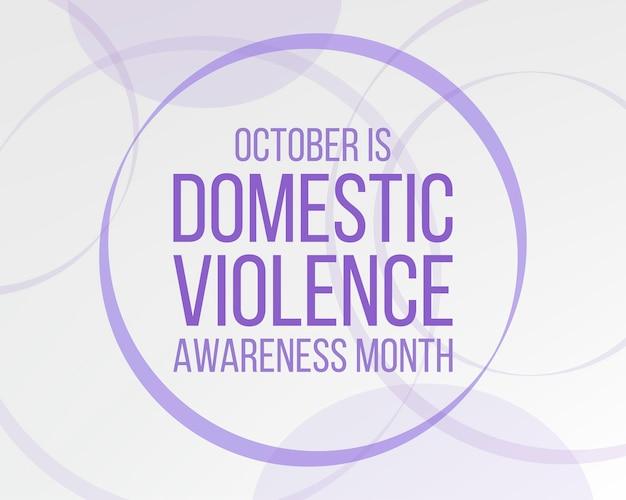 Huiselijk geweld awareness month concept. banner voor met paarse lintbewustzijn en tekst. vector illustratie.
