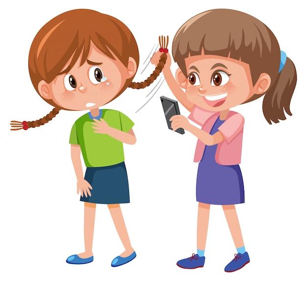Huiselijk geweld met kind pesten van de anderen op een witte achtergrond