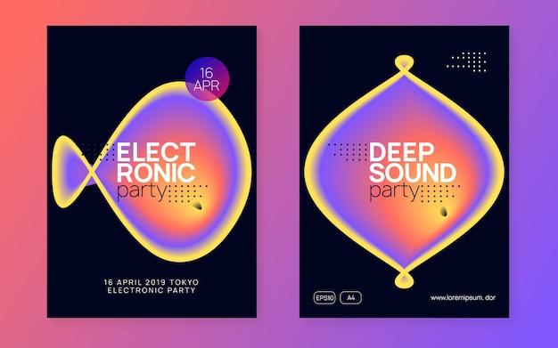 Huisfeest. golvende elektronische gebeurtenis. muziek en nachtleven concept. jazz-effect voor uitnodiging. abstract patroon voor omslagontwerp. paars en oranje huisfeest