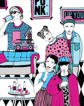 Huisfeest met dansen, drinkende jongeren, muziek. hand getekende kleurrijke illustratie.