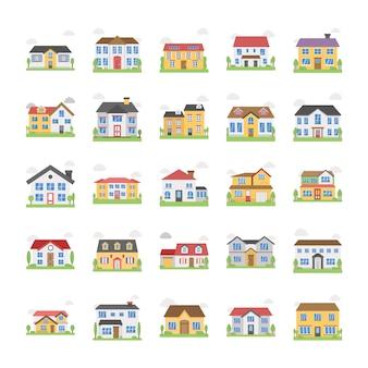 Huisgebouwen pictogrammen
