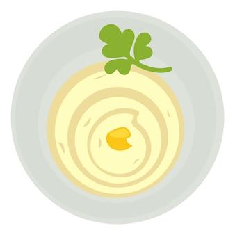 Huisgemaakte saus van eieren, olie en mosterd. mayonaise of zure room geserveerd in juskom met peterselieblad. koken en bereiden van gerechten, menukaart van restaurant of diner. natuurlijke maaltijd. vector in vlakke stijl