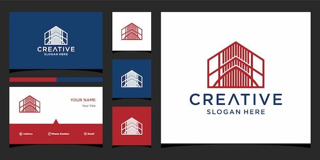 Huisglas logo-ontwerp met zakelijke kaartsjabloon