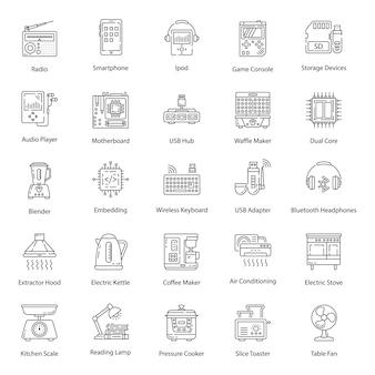 Huishoudapparaat lijn pictogrammen pack