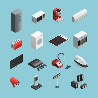 Huishoudapparaten isometrische pictogrammen instellen