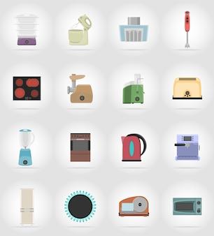 Huishoudapparaten voor keuken plat pictogrammen vector illustratie