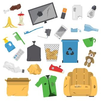 Huishoudelijk afval vuilnis iconen