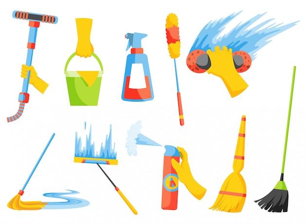 Huishoudelijk huishoudelijk werk. huishoudelijke reinigingsapparatuur. schoonmaak spullen. een reeks kleurrijke pictograminzameling die op wit wordt geïsoleerd