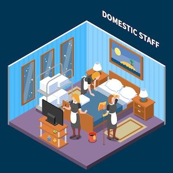 Huishoudelijk personeel isometrische scène