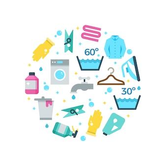 Huishoudelijk werk drogen wassen plat pictogrammen ronde