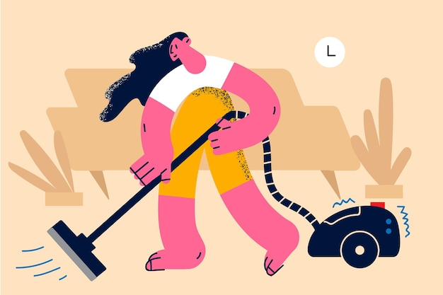 Huishoudelijk werk en stofzuigconcept