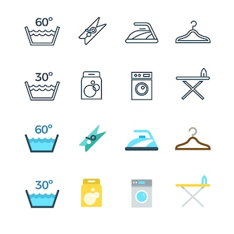 Huishoudelijk werk en waslijn en vlakke pictogrammen