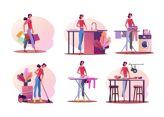 Huishoudelijk werk illustratie set