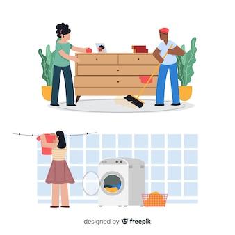 Huishoudelijk werk karakters collectie illustratie