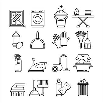 Huishoudelijke apparaten en hulpmiddelen icons set