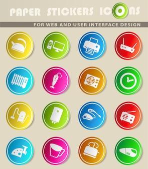 Huishoudelijke apparaten gewoon symbolen voor web- en gebruikersinterface