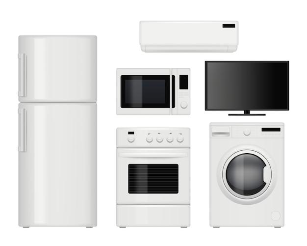 Huishoudelijke apparaten. huishoudelijke keukenartikelen realistisch