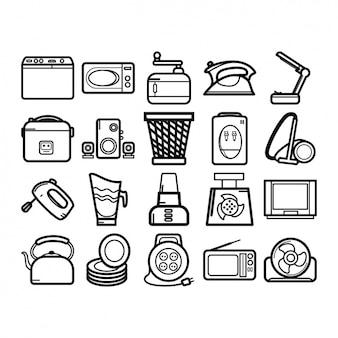 Huishoudelijke apparaten iconen collectie