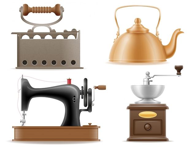 Huishoudelijke apparaten oude retro uitstekende vastgestelde vectorillustratie