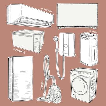 Huishoudelijke apparaten. set huishoudelijke keukentechnieken, hand tekenen schets.