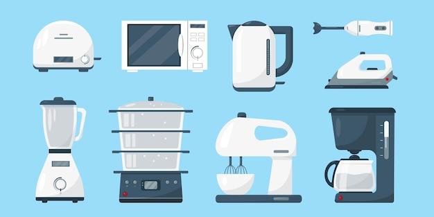 Huishoudelijke apparaten set wit magnetron waterkoker blender mixer koffiezetapparaat ijzer en broodrooster