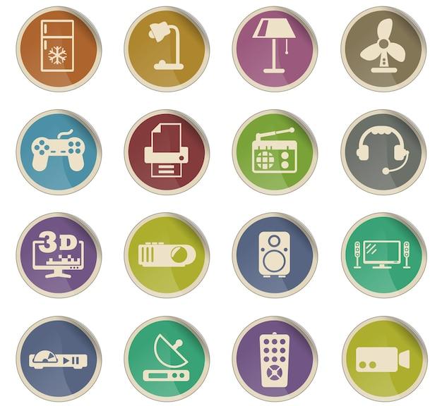 Huishoudelijke apparaten vector iconen in de vorm van ronde papieren etiketten