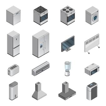 Huishoudelijke apparaten vector keuken huishoudapparaat voor huis set fornuis of wasmachine en magnetron in appliquestore isometrische illustratie
