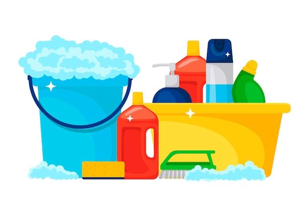 Huishoudelijke artikelen en schoonmaakproducten Premium Vector