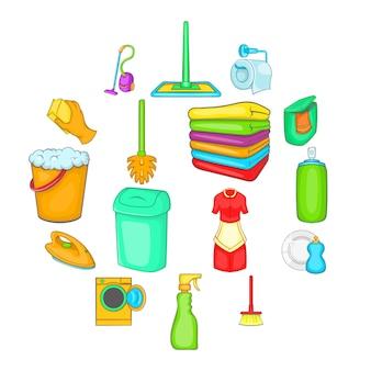 Huishoudelijke elementen iconen set, cartoon stijl