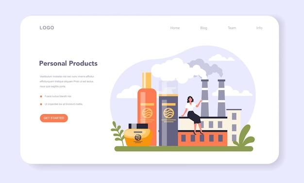 Huishoudelijke en persoonlijke producten industriesector van de economie webbanner of bestemmingspagina. wasbenodigdheden en schoonmaakmaterialen voor badkamer- en zelfzorgproductie. platte vectorillustratie