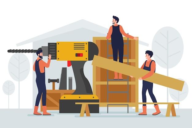 Huishoudelijke en renovatieberoepen met plat ontwerp