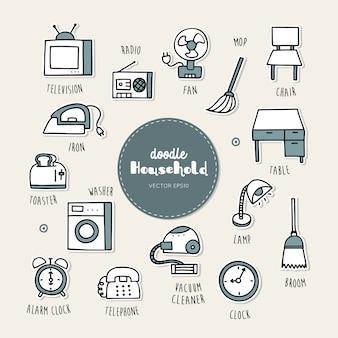 Huishoudelijke hand getrokken doodle pictogrammen instellen.