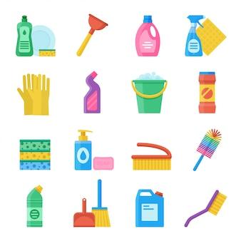Huishoudelijke hulpmiddelen voor het reinigen en wassen van icon set