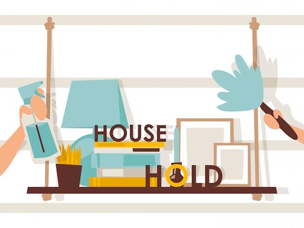 Huishoudelijke illustratie, typografie samenstelling, brochure dekking,