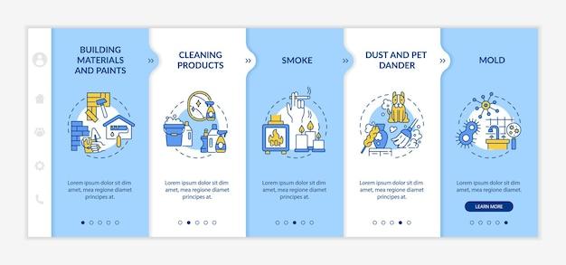 Huishoudelijke luchtvervuiling onboarding vector sjabloon. responsieve mobiele website met pictogrammen. webpagina walkthrough 5 stappen schermen. reinigingsproducten, stofkleurconcept met lineaire illustraties