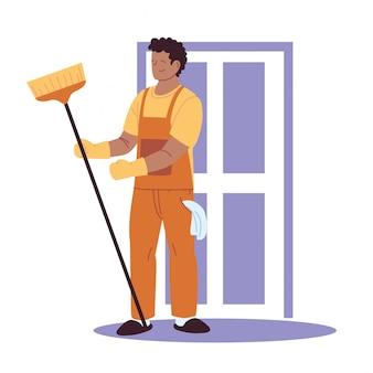 Huishoudelijke man huis schoonmaken werk