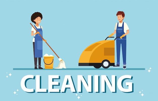 Huishoudelijke paar werknemers met gereedschapskarakters