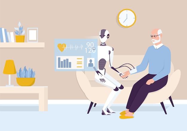 Huishoudelijke persoonlijke robot voor hulp bij ouderen. kunstmatige intelligentie en futuristisch medisch behandelingsconcept. robot die de bloeddruk van de oude man controleert. illustratie