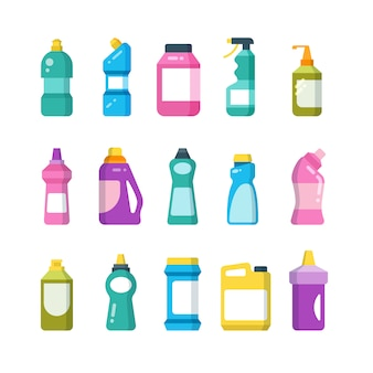 Huishoudelijke producten schoonmaken. chemische reinigingsflessen. sanitaire containers vector set