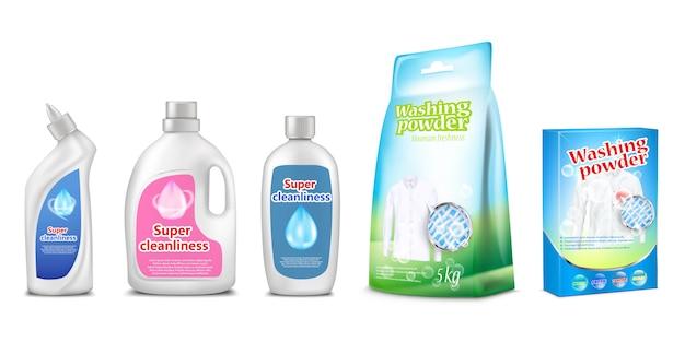 Huishoudelijke reinigingsmiddelen van toilet- en badkamerreiniger of waspoeder