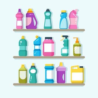 Huishoudelijke schonere producten en wasgoederen op planken. huis schoonmaak service vector concept